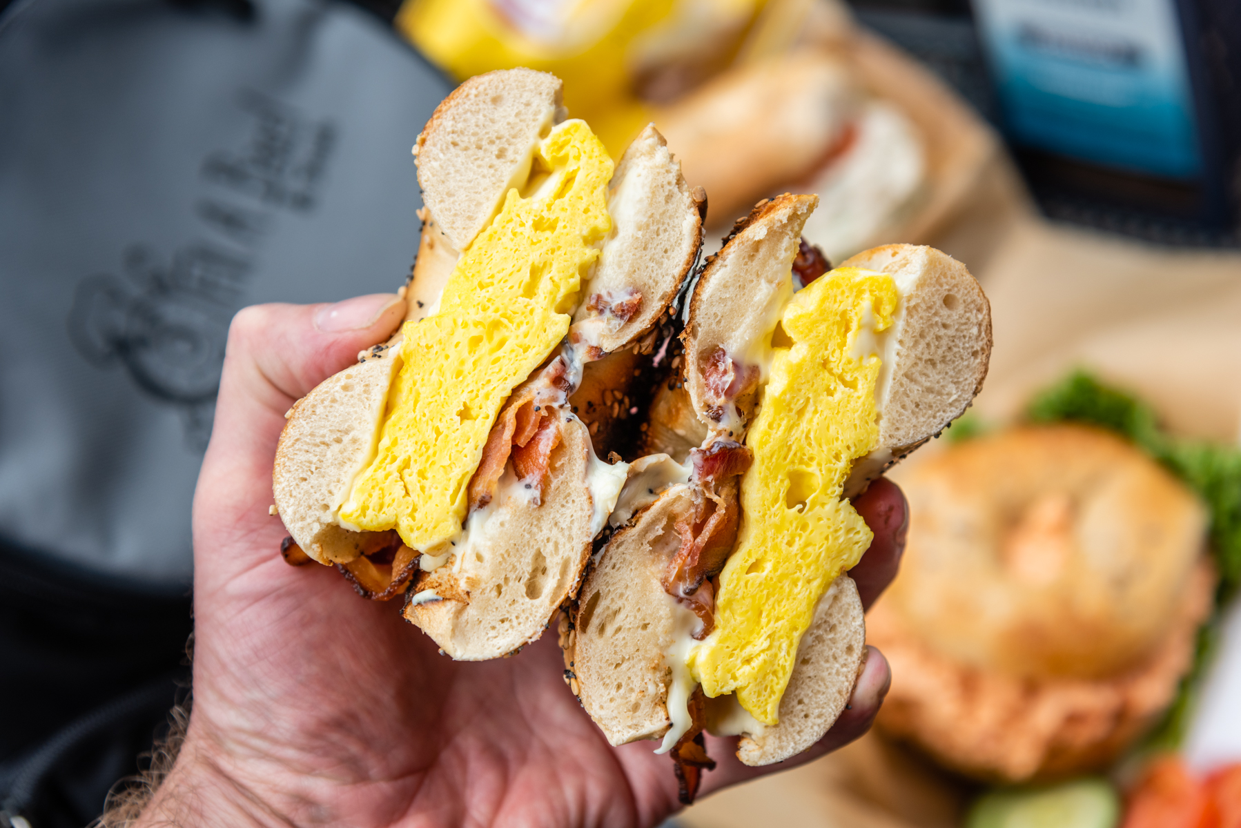 Hand Hold Bacon, Egg, and Cheese Sandwich