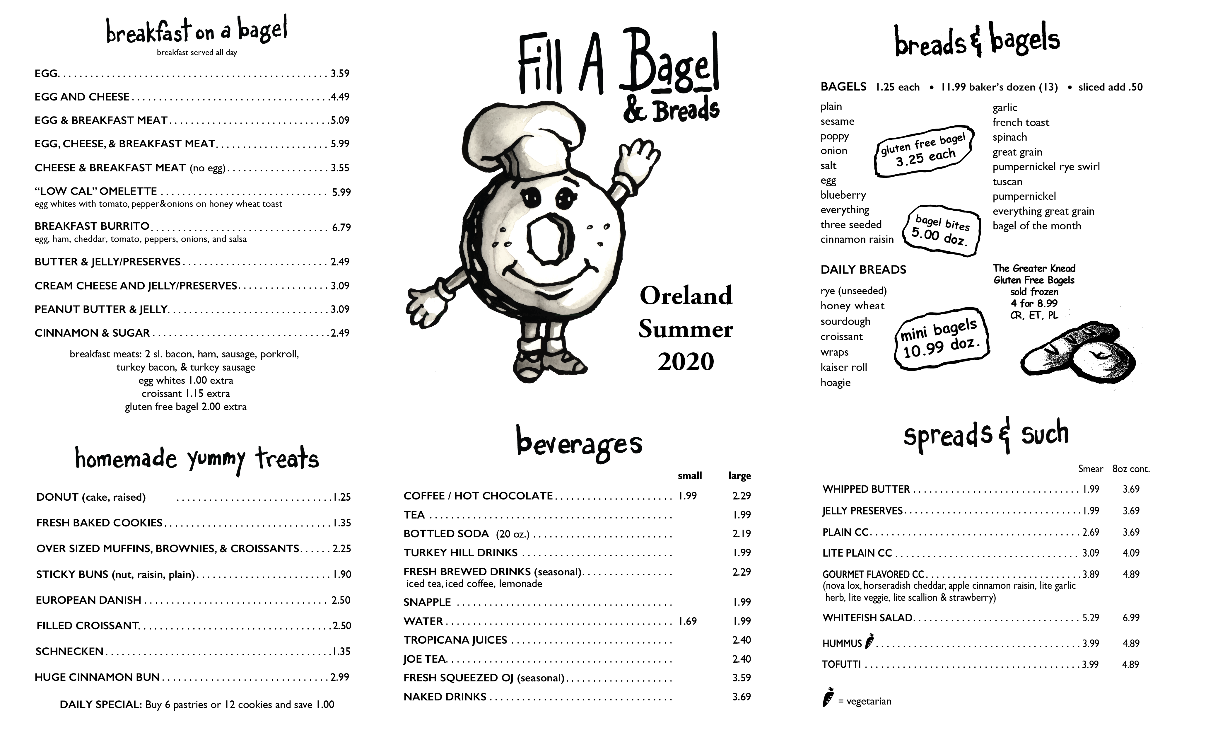 Oreland To Go Menu